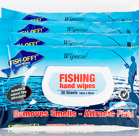 FISHING HAND WIPES .. REMOVES SMELLS ATTRACTS FISH!!